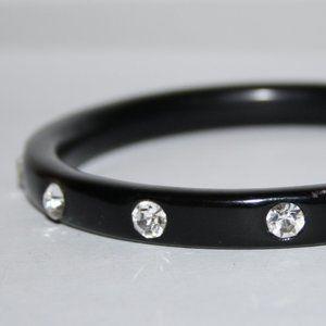 Black rhinestone bangle bracelet
